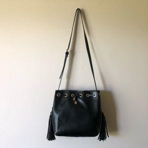 ZARA Accessories Black Crossbody Bag Fringe Tassel
